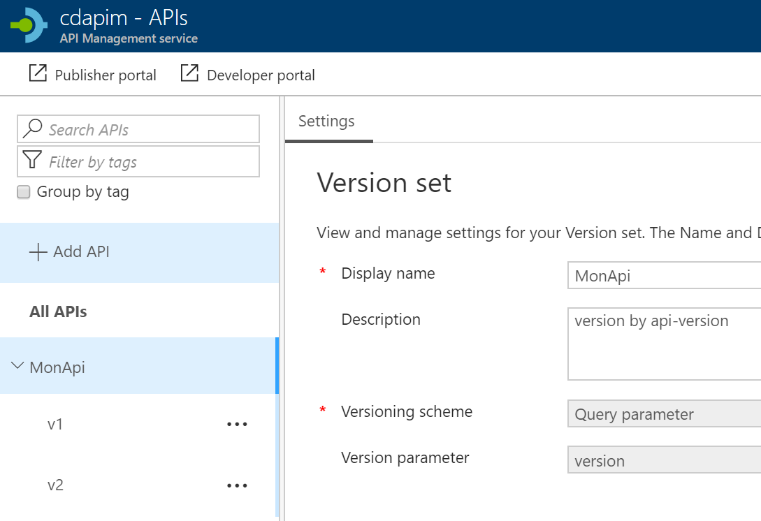 azure api version set